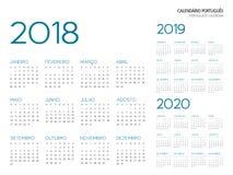 Portuguese Calendar 2018-2019-2020 vector. Portuguese calendar grid 2018 2019 2020 vector illustration outline font is Armata Royalty Free Stock Images