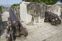 Portuguese cannons in Guia Fortress in Macau, China. Royalty Free Stock Image