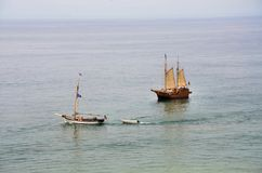 Portuguese caravel. And another sailboat on the Algarve coast Stock Photos