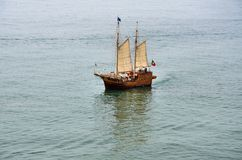 Portuguese caravel. Replica of a Portuguese caravel sailing in the middle of the sea Stock Images