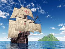 Portuguese Caravel. Computer generated 3D illustration with a Portuguese Caravel of the Fifteenth Century Stock Photo