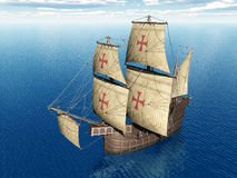 Portuguese Caravel. Computer generated 3D illustration with a Portuguese Caravel of the Fifteenth Century Stock Image