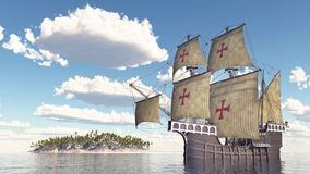 Portuguese caravel of the fifteenth century Royalty Free Stock Image