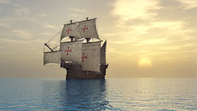 Portuguese caravel of the fifteenth century royalty free illustration