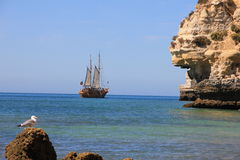 Portuguese Caravel Ship carvoeiro. Beautiful Portuguese Caravel Ship in Algarve sea Royalty Free Stock Image