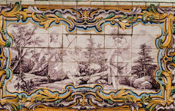 Portuguese ceramic tile painting from the C18th. Stock Photos