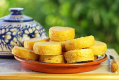 Portuguese cheese on plate. Royalty Free Stock Photos