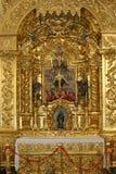 Portuguese church altar detail. Detail of a portuguese church rich golden decoration Royalty Free Stock Photos