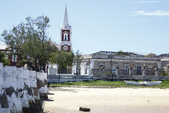Portuguese Church - Island of Mozambique. The Island of Mozambique (Portuguese: Ilha de Moçambique) lies off northern Mozambique, between the Mozambique Channel Stock Photo