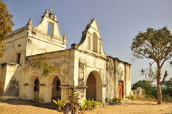 Portuguese church on island of mozambique. Ilha de mocambique, traditional architecture Royalty Free Stock Photography