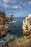 Portuguese coastline in Peniche. View of the sea and rocks in Peniche, Portugal, 2015 Stock Photography