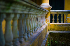 Portuguese colonial architecture detail. Detail of the balcony of an old house built in Santa Catarina, Brazil, according to the Portuguese architectural style Royalty Free Stock Photos