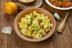 Portuguese Bacalhau Bras. Portuguese cuisine - Bacalhau Bras , Traditional Portugal dishes, made from shreds of salted cod bacalhau, onions and thinly chopped stock photography