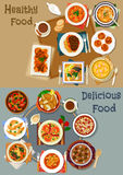 Portuguese cuisine dishes icon set for menu design. Portuguese cuisine popular dishes icon set with vegetable, fish and bean stew, seafood salad, soups with fish Royalty Free Stock Photo