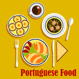 Portuguese cuisine empanadas, egg tarts and coffee Royalty Free Stock Photos