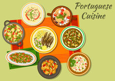 Portuguese cuisine icon for food design. Portuguese cuisine cabbage and sausage soup caldo verde icon with fried sardine, bean stew, fish paella, baked eggplant Royalty Free Stock Photo