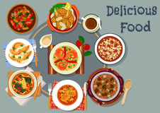 Portuguese cuisine lunch with pie dessert icon Stock Photo