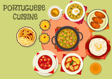 Portuguese cuisine popular dishes icon. With fish potato cutlet, baked fish in cream sauce, tomato cod soup, bread soup with egg, stuffed squid, custard cake Stock Photo