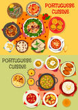 Portuguese cuisine seafood dinner menu icon set Stock Photos
