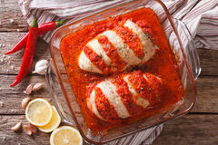 Portuguese cuisine: spicy chicken piri close-up. horizontal top Stock Images