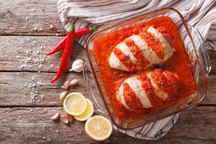 Portuguese cuisine: spicy chicken piri. Horizontal view from abo Stock Image