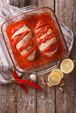 Portuguese cuisine: spicy chicken piri. vertical view from above Stock Images