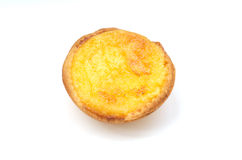 Portuguese Custard Tart(Pasteis de Natas). Single Portuguese Custard Tart(Pasteis de Natas) on white background stock image