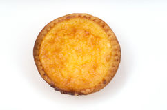 Portuguese Custard Tart(Pasteis de Natas). Single Portuguese Custard Tart(Pasteis de Natas) on white background Royalty Free Stock Photo