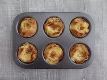 Portuguese custard tarts in a cake tin stock image