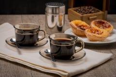 Portuguese Custard Tarts with Coffee Stock Image