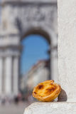 Portuguese dessert Pasteis de nata in attractions Lisbon Royalty Free Stock Photo