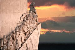 Portuguese Discovery Monument. At sunset Stock Images