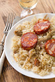 Portuguese dish duck rice on white plate Royalty Free Stock Photos