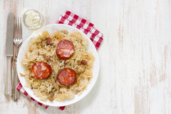 Portuguese dish duck rice on white plate Royalty Free Stock Photo