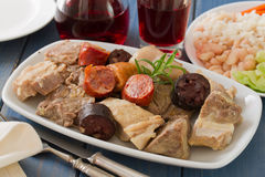 Portuguese dish with red wine Royalty Free Stock Image