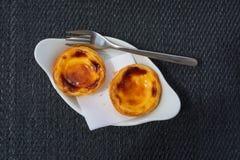 Portuguese egg tart pastry. Pastel de Belem or Nata, typical Portuguese egg tart pastry Royalty Free Stock Images