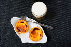 Portuguese egg tart pastry. Pastel de Belem or Nata, typical Portuguese egg tart pastry Stock Photo