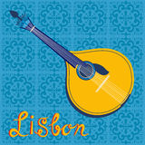 Portuguese fado guitar over Lisbon map and Stock Photography