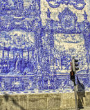 Portuguese Famous Blue tile Work with red Light Stock Photography