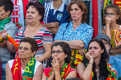 Portuguese fans during translation of the football match Portugal - France final of the European championship 2016 Stock Photos