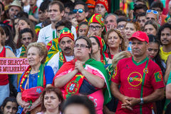 Portuguese fans during translation of the football match Portugal - France final of the European championship 2016 Royalty Free Stock Images