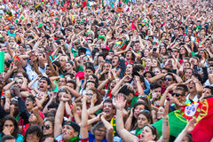 Portuguese fans during translation of the football match Portugal - France final of the European championship 2016 Royalty Free Stock Photography