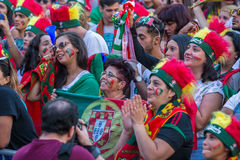 Portuguese fans during translation of the football match Portugal - France final of the European championship 2016 Stock Photography