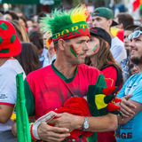 Portuguese fans during translation of the football match Portugal - France final of the European championship 2016 Stock Photo