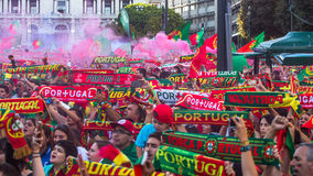 Portuguese fans during translation of the football match Portugal - France final of the European championship 2016 Stock Image