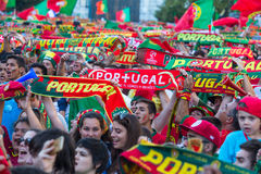 Portuguese fans during video translation of the football match Portugal - France final of the European championship 2016 Stock Photo