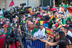 Portuguese fans during video translation of the football match Portugal - France final of the European championship 2016 Stock Images