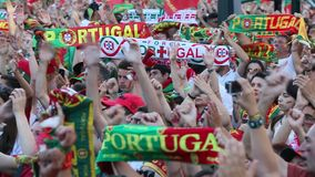 Portuguese fans during video translation of the football match Portugal - France final of the European championship 2016. PORTO, PORTUGAL - JUL 10, 2016 stock footage