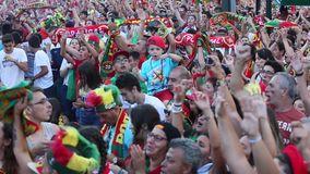 Portuguese fans during video translation of the football match Portugal - France final of the European championship 2016. PORTO, PORTUGAL - JUL 10, 2016 stock video