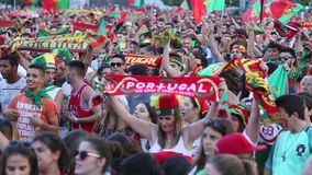 Portuguese fans during video translation of the football match Portugal - France final of the European championship 2016. PORTO, PORTUGAL - JUL 10, 2016 stock video footage